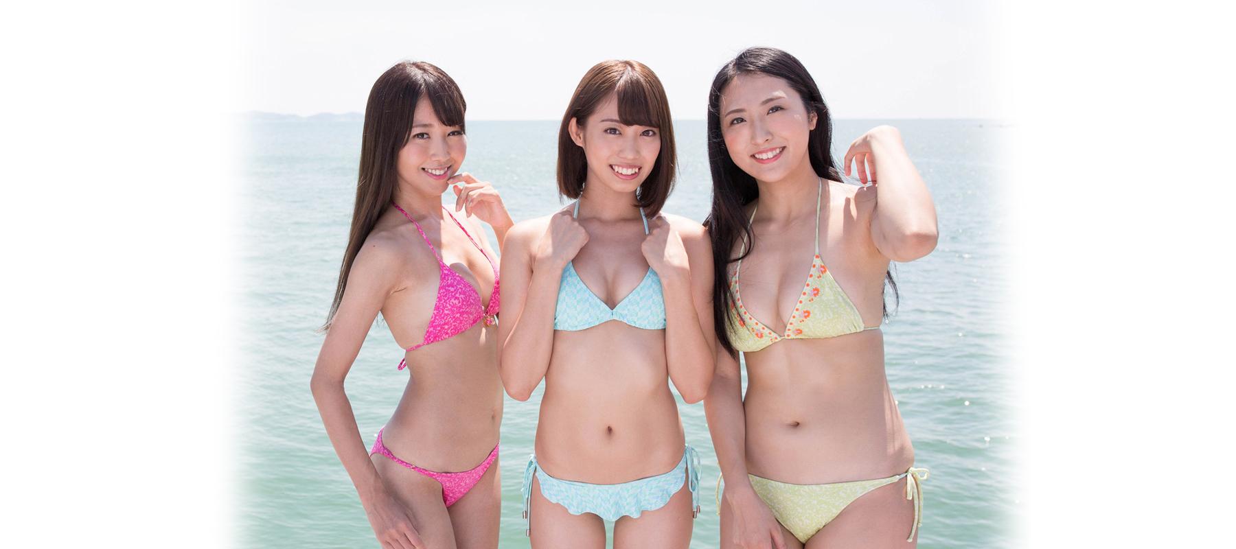 「ミスFLASH2019」グランプリ3人。左から沙倉しずか、山岸奈津美、阿南萌花